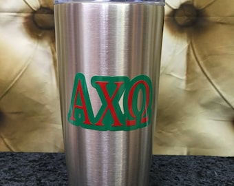 Alpha Chi Omega Stainless Steel Tumbler - holds hot or cold drinks
