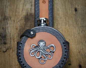 Steampunk Flask With Custom Leather Holder