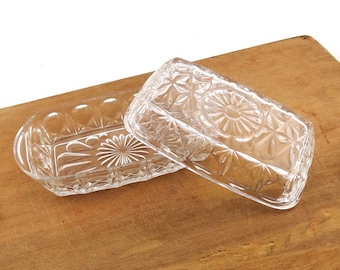 French Vintage Glass Butter Dish