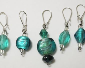 Blue with Clear Beading Stitch Markers for Knitting and Crochet