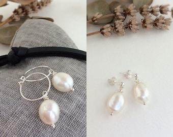 Pearl earrings, pearl hoop earrings, large pearl earrings, Freshwater pearl earrings, bridal earrings