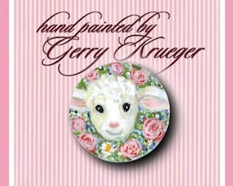 Hand painted Lamb  Button -