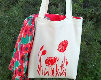 Hand embroidered Poppy bag Canvas tote bag for girl Birthday gift for mom Eco friendly gift for her Reusable shopping bag Boho festival bag