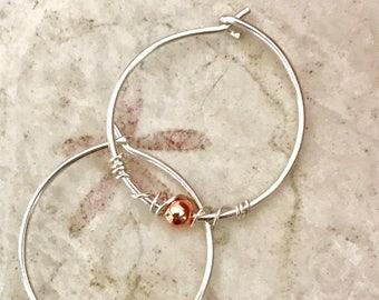 Sterling Silver Hoops - Medium size Earrings, minimalist jewelry, Simple round circles dmalia designs