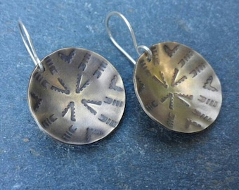 Brass and sterling silver stamped dangle earrings, oxidized mixed metal gold and silver, rustic tribal