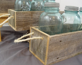 Mason jar box, Wood planter box, rustic home decor, reclaimed wood, mason jar holder, wood planter box, 3 sizes, with rope handle