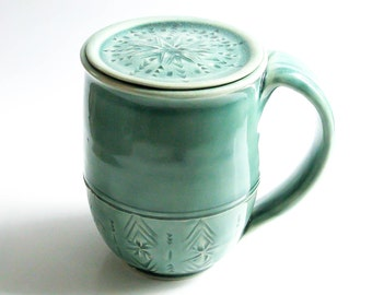 Handmade Coffee Mug & Lid, Personalized Mug, Lidded Mug Pottery, Ceramic Coffee Mug with Lid  - MADE TO ORDER