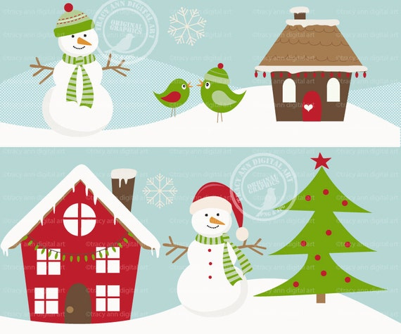 items similar to christmas scene winter set snowman tree house rh etsy com christmas scenery clip art christmas scenes clipart images