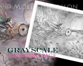 Soaring - Instant Download Printable Fairy and Owl GRAYSCALE coloring page by Molly Harrison -  8.5 x 11 JPG file