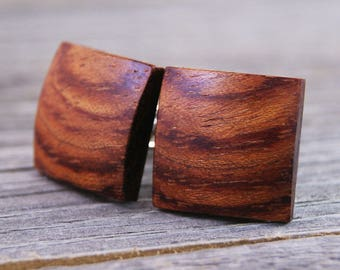 Solid Wood Cufflinks - African Bubinga