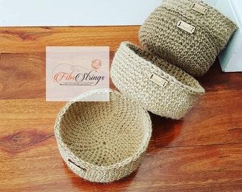 Handmade Crochet Jute Twine Bowl | Storage Bowl | Jute Basket | Jute Homewares | Storage Solution