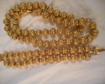 Monet Vintage Gold Tone Filigree Necklace & Bracelet