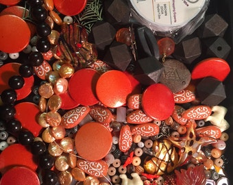 Orange & Brown Bead Soup Beads Cabs Cabochons Glass Lucite Acrylic Flowers Agate Crystal Mix Charms Wood Pearl Destash Lot Brass Zebra Wire