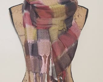 All Jazzed Up by RCS checkered lightweight semi-sheer hand stitched block plaid fringe scarf shawl or shoulder wrap
