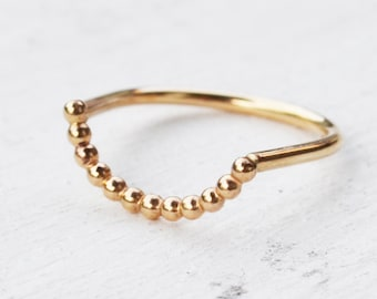 Beaded Curve Ring, Minimalist Curved Band Ring, 14K Gold Filled or Sterling Silver Arc Ring, Beaded Stacking Ring, Gold Knuckle Ring