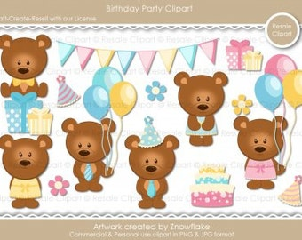 Birthday Party Bears 1 Clipart (Digital ZIP File Download)