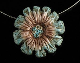 Rustic Flower Necklace, Unique Pendant Statement Necklace, Art Jewelry, Art Brooch, Flower Jewelry, Handmade Necklace Gardener Gift for Mom