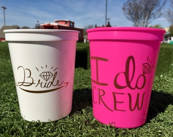 I Do Crew Cups   Bachelorette Party Cups 16 0z   Bridal Party Stadium Cups   Neon Pink I Do Crew Cup ON SALE!!!