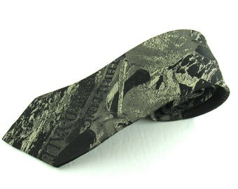 Mens Vintage Neck Tie By Doneagle Grey Abstract Design Skinny Madmen Circa 1960