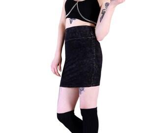 Acid Washed Mini Yoga Skirt with fold over waistband or high waisted