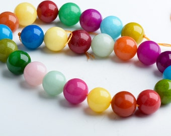 16mm Multi-Color Dyed Jade Round Beads, about 25 beads per 16in strand, OE0895E