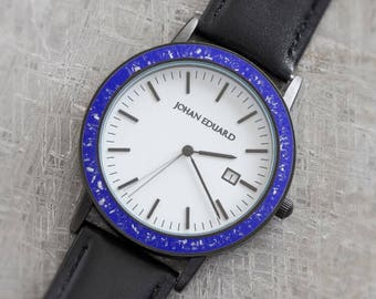 Black Leather Watch Inlaid With Royal Blue Stardust And Meteorite Shavings, Unisex Wristwatch with Black Stainless Steel, Johan Eduard Watch