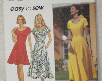 """Sz H 6 8 10 Bust 30.5"""" - 32.5"""" Simplicity Sewing Pattern 8345  Dress with Scoop or Scalloped Neck and Princess Seams"""