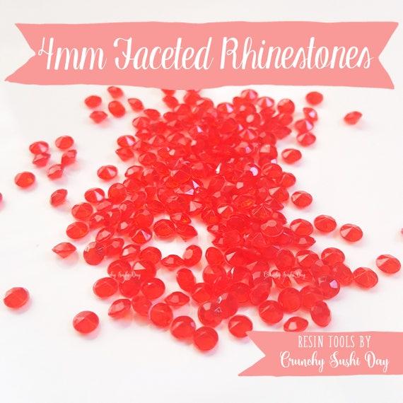 200 PCS- 4mm Red Clear Acrylic Diamond Rhinestones, Rhinestone, Acrylic Rhinestones, Loose Rhinestones, Diamond Confetti, Confetti