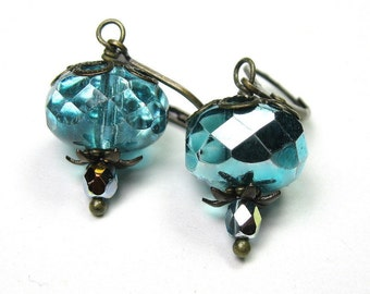 Metallic Aqua Marine Vintage Style Czech Glass Dangle Earrings, Sparkling Turquoise Earrings, Affordable Antiqued Brass Jewelry Gift Ideas