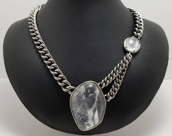 ANN TAYLOR Stone And Chain Necklace