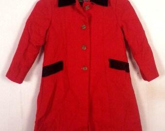 vtg 40s 50s Equestrian Jacket Blazer Classic Red Wool / Black Velvet Collar XS