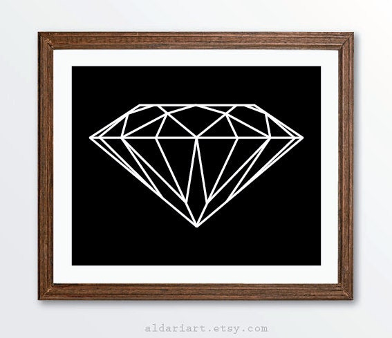 Diamond Art Print Geometric Wall Art Modern Home Decor