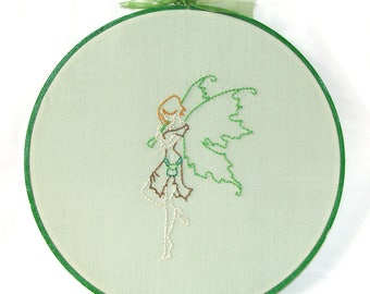 Irish Fairy Art, Embroidered Wall Hanging, Fantasy Hoop Art in Green