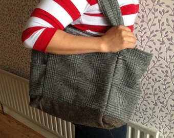 Ladies Shoulder Tweed Bag - Handmade - 100% Irish Tweed