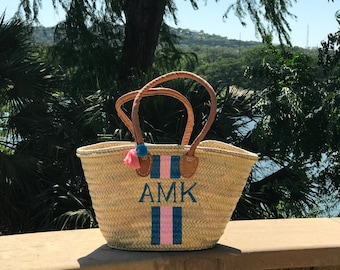 Monogrammed Medium Straw Beach Tote | Hand Painted Personalized French Market Basket | Painted Straw Bag