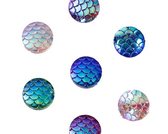 100 Resin Mermaid Cabochons, 12mm Fish Scale Dome Seals, Iridescent Cabochon Round, AB Color 12mm, 0192, 304a