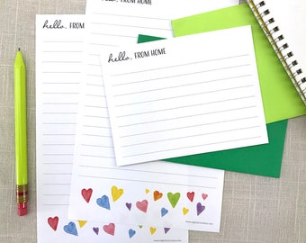 Camp Notes from Home, Summer Camp, Kids Personalized Stationery Set, Camp Stationery Letter Sheets, Writing Paper