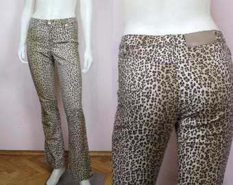 vintage 90's MOSCHINO jeans leopard animal print // wide leg pants Small