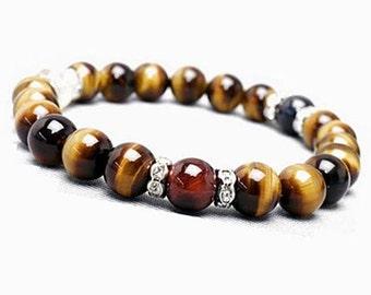 10mm Tiger Eye Bracelet, Mix Tiger Eye Bracelet, Womens Tiger Eye Bracelet, Tiger Bracelet, Gemstone Bracelet,Citrine Tiger Stretch Bracelet