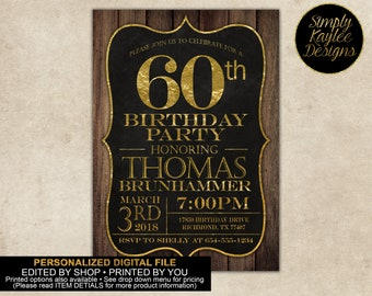 60th Birthday Party Invitation for Men