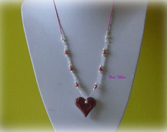 Pink Co227 old heart pendant necklace