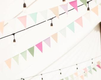 Sea Glass Fabric Bunting Banner, Pastel Wedding Garland Flags, Rainbow Bunting, Beach Bridal Shower Decorations Vintage Wedding Decor Spring