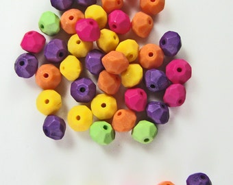Bicone shaped , frosted, colorful acrylic beads 50 pieces