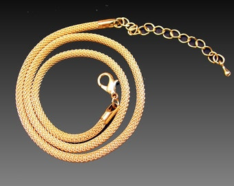 18 K Gold  Plated 3mm Mesh Chain Upgrade Adjustable 16-18 inches