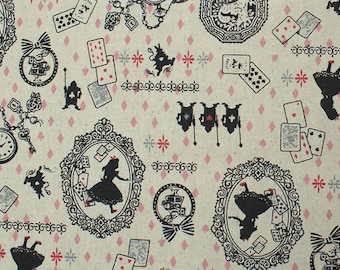 Cotton & Linen Fabric Natural Dancer Poker Pattern  - 1 M - Wonderland Alice