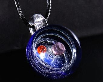 Platz-Glas-Anhänger, Ozean Anhänger Silber Universum Glasanhänger Halskette, Opal Anhänger, Solar Eclipse-Kunst-Glas, Glas-Kuppel