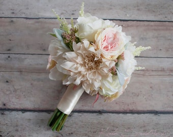 Blush Pink and Ivory Garden Rose Dahlia and Peony Wedding Bouquet - Bridesmaids Bouquet