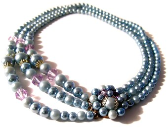 Blue pearl necklace vintage faux pearl multi strand fifties