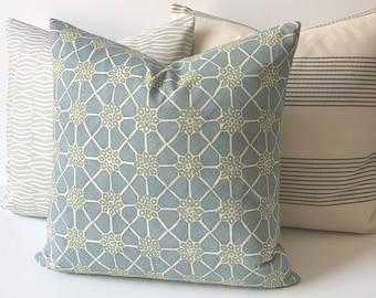 Light spa blue, aqua and cream geometric floral decorative pillow cover