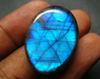 Blue Flashy Natural Labradorite Smooth Oval Cabochon - 29.75x22x8.5 MM - Labradorite Cabochons - High Quality - Wholesalegems